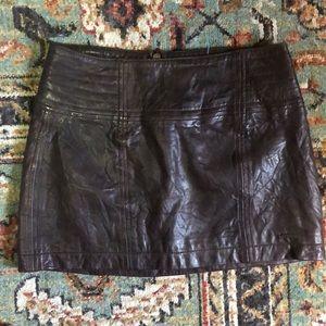 Abercrombie Brown Genuine Leather Mini Skirt
